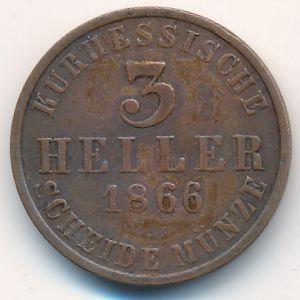 Гессен-Кассель, 3 геллера (1866 г.)