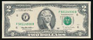 США, 2 доллара (1995 г.)