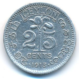 Цейлон, 25 центов (1913 г.)