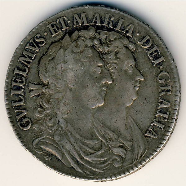 Great Britain, 1/2 crown, 1689–1690