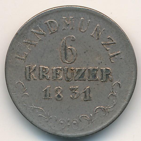 Саксен-Мейнинген, 6 крейцеров (1831 г.)
