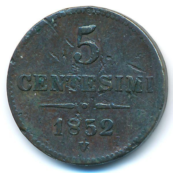 Ломбардия-Венеция, 5 чентезимо (1852 г.)