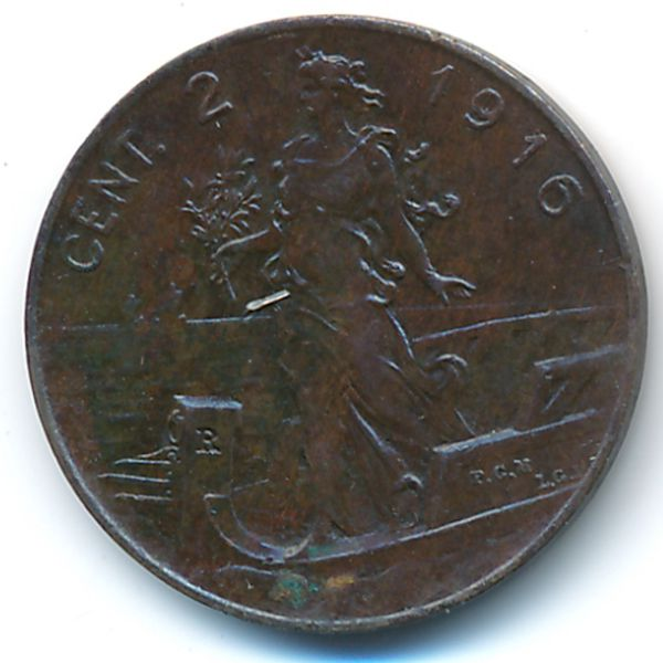 Италия, 2 чентезимо (1916 г.)