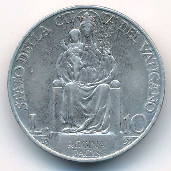 Ватикан, 10 лир (1935 г.)