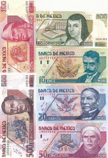Мексика, Набор банкнот
