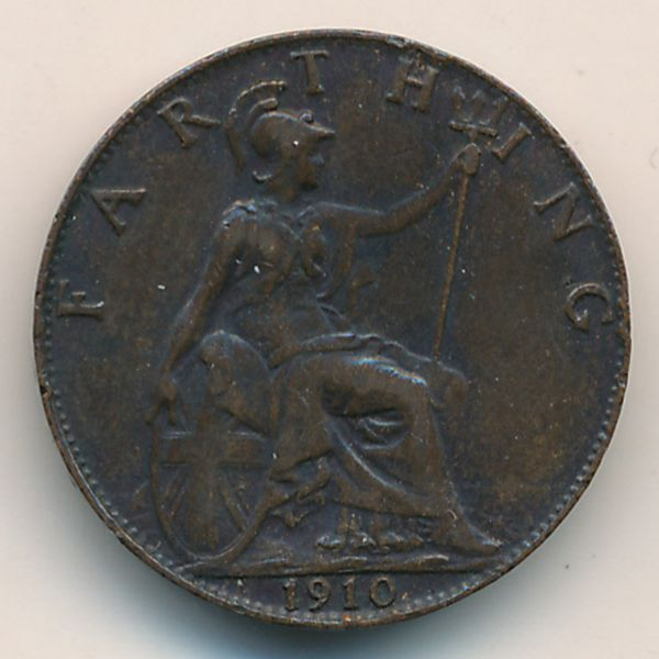 Великобритания, 1 фартинг (1910 г.)