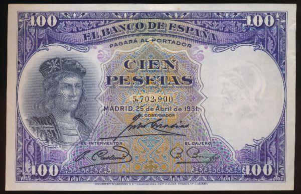 Испания, 100 песет (1931 г.)