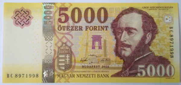 Венгрия, 5000 форинтов (2016 г.)
