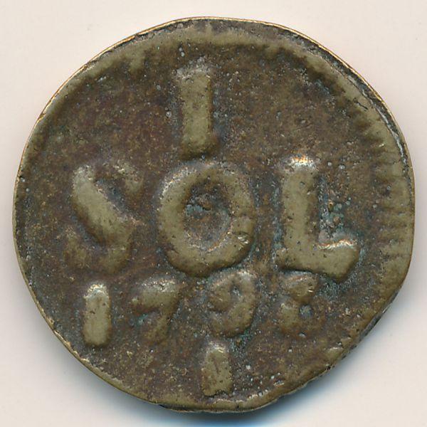 Люксембург, 1 соль (1795 г.)