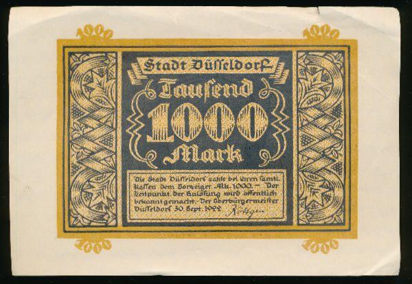 Дюссельдорф., 1000 марок (1922 г.)