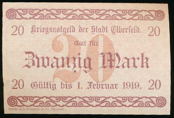 Эльберфельд., 20 марок (1918 г.)