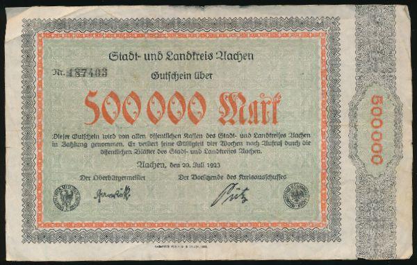 Ахен., 500000 марок (1923 г.)