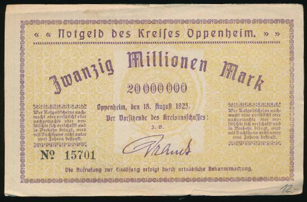Оппенхайм., 20000000 марок (1923 г.)