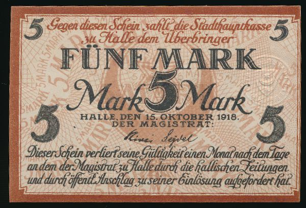 Галле., 5 марок (1918 г.)