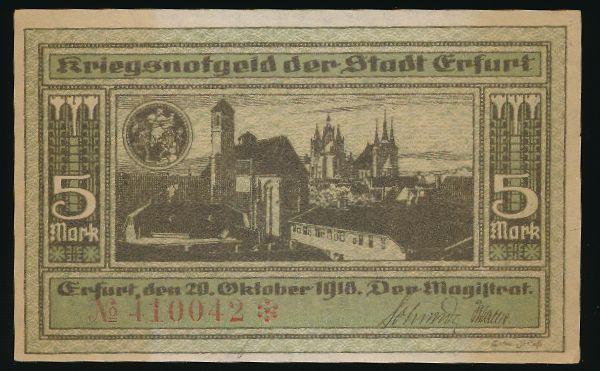 Эрфурт., 5 марок (1919 г.)
