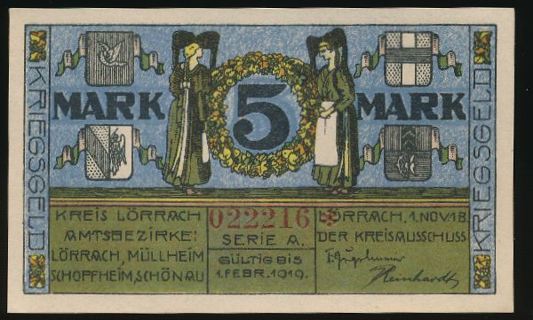 Лёррах., 5 марок (1919 г.)