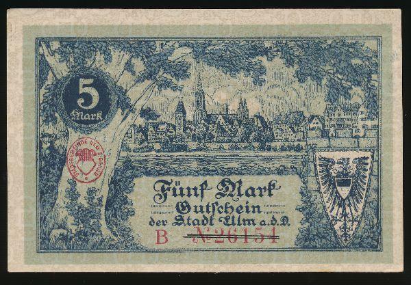 Ульм., 5 марок (1918 г.)
