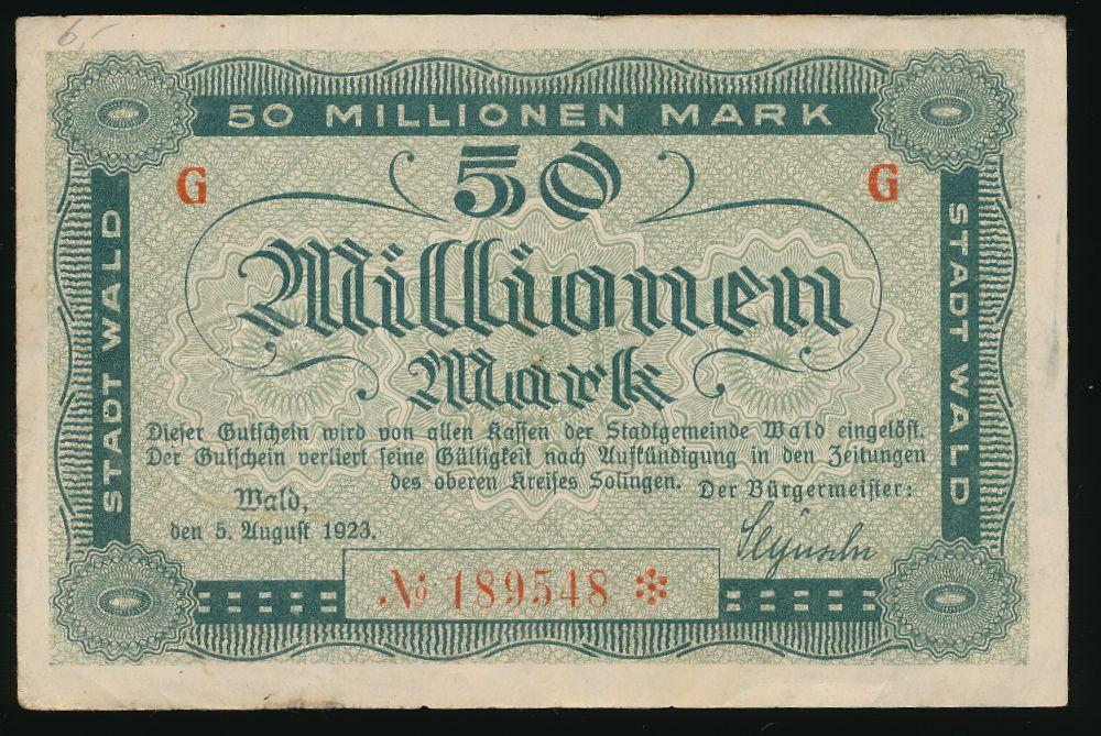 Вальд., 50000000 марок (1923 г.)