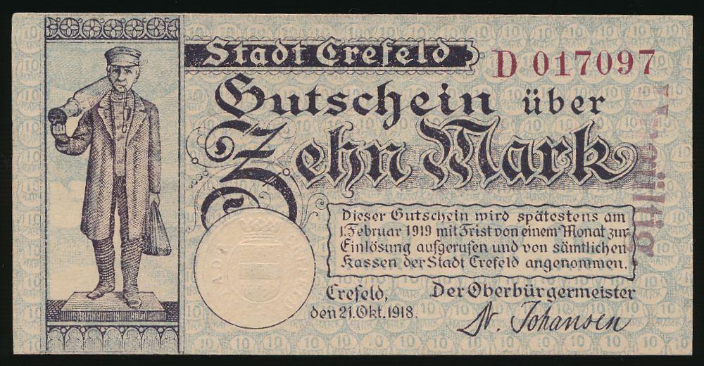 Крефельд., 10 марок (1918 г.)