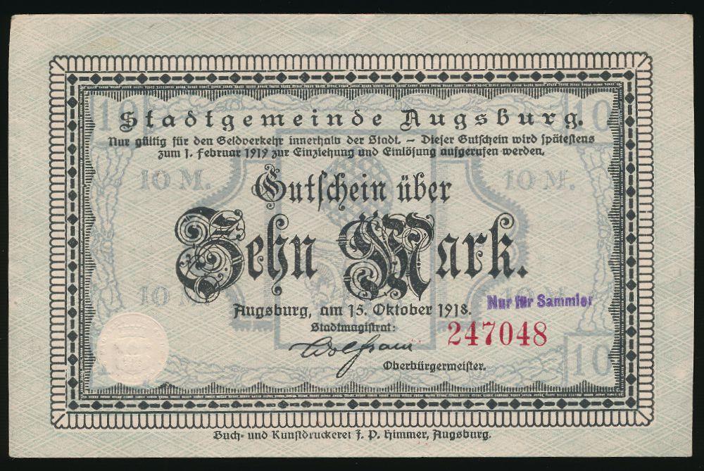 Аугсбург., 10 марок (1918 г.)