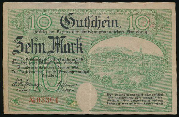 Аннаберг-Буххольц., 10 марок (1918 г.)