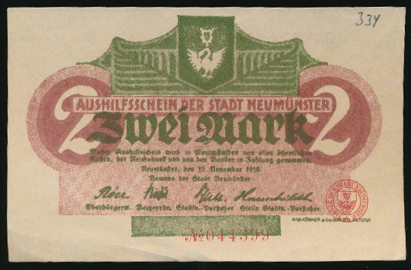 Ноймюнстер., 2 марки (1918 г.)