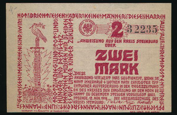 Штайнбург., 2 марки (1918 г.)