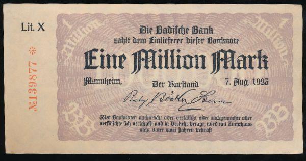 Мангейм., 1000000 марок (1923 г.)