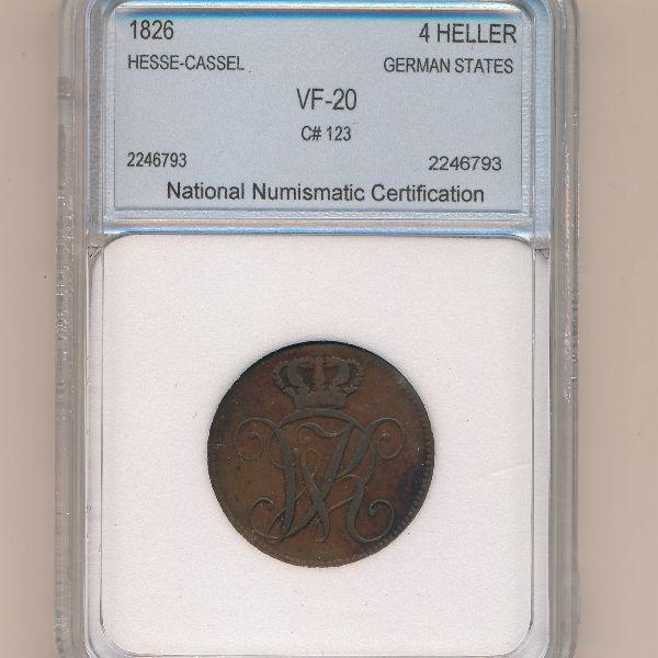 Гессен-Кассель, 4 геллера (1826 г.)