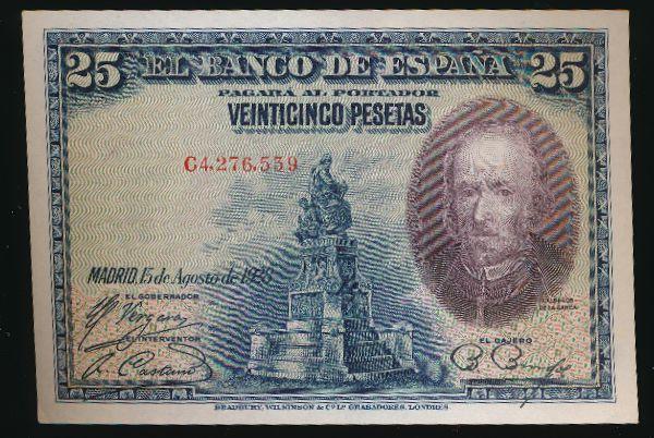 Испания, 25 песет (1928 г.)
