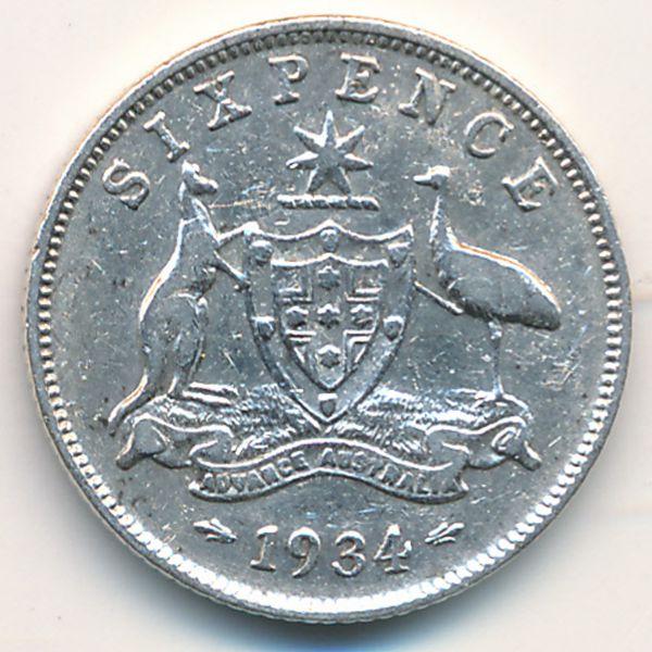 Австралия, 6 пенсов (1934 г.)