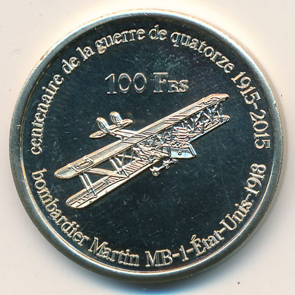 Остров Жуан-ди-Нова, 100 франков (2015 г.)