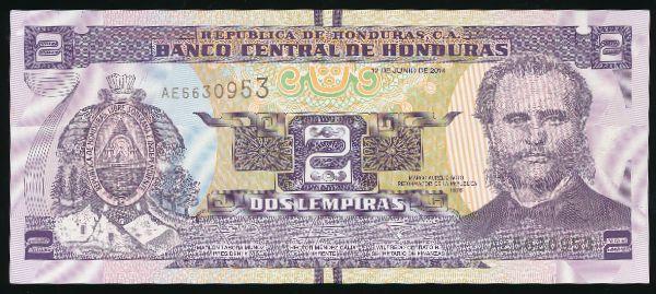 Гондурас, 2 лемпира (2014 г.)