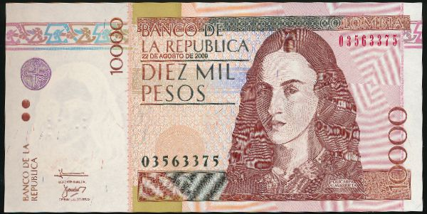 Колумбия, 10000 песо (2009 г.)