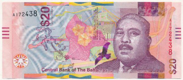 Багамские острова, 20 долларов (2018 г.)