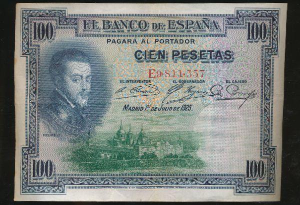 Испания, 100 песет (1925 г.)
