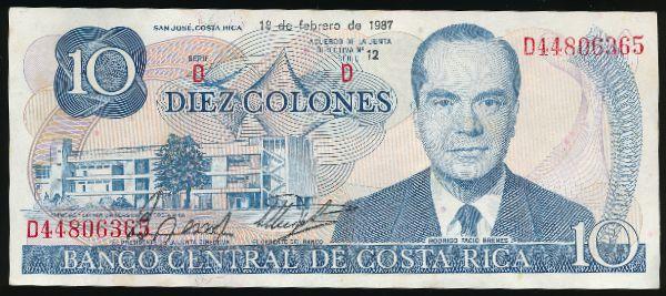 Коста-Рика, 10 колон (1987 г.)