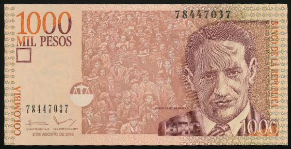 Колумбия, 1000 песо (2016 г.)