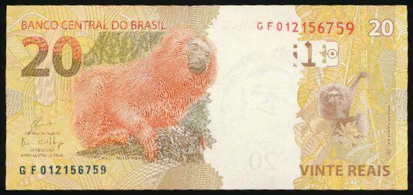 Бразилия, 20 реалов (2010 г.)