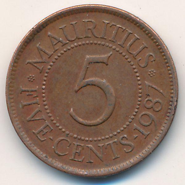 Маврикий, 5 центов (1987 г.)
