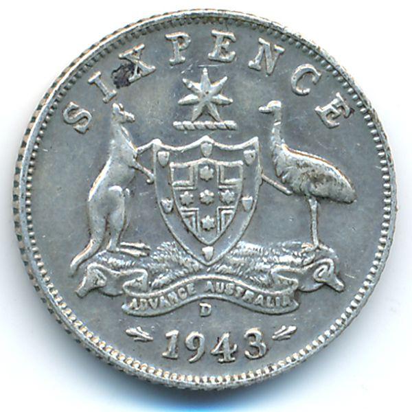 Австралия, 6 пенсов (1943 г.)