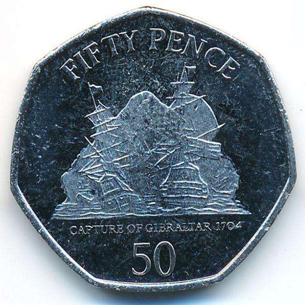 Гибралтар, 50 пенсов (2010 г.)