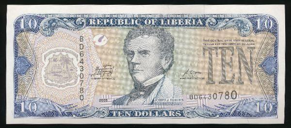 Либерия, 10 долларов (2009 г.)