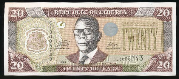 Либерия, 20 долларов (2009 г.)