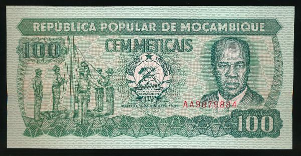 Мозамбик, 100 метикал (1989 г.)