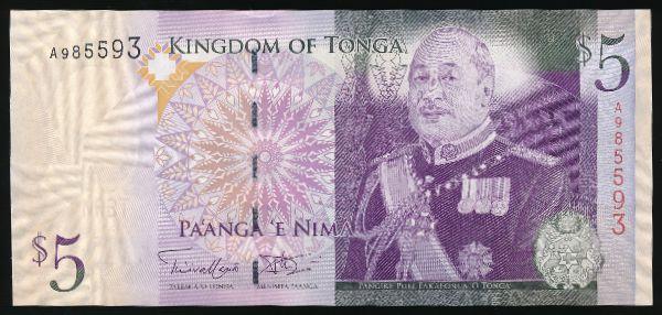 Тонга, 5 паанга (2009 г.)
