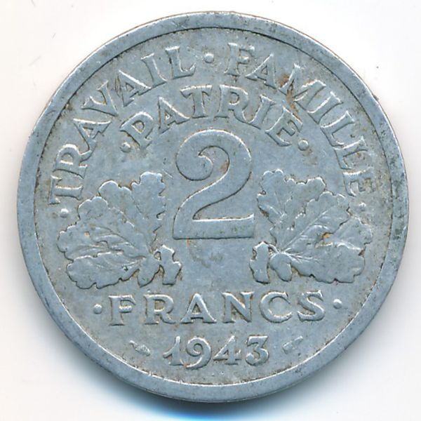 Франция, 2 франка (1943 г.)