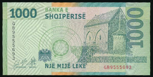 Албания, 1000 лек (2019 г.)