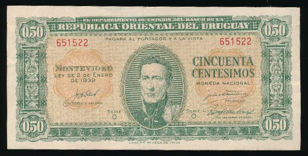 Уругвай, 50 сентесимо (1939 г.)