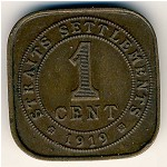 Straits Settlements, 1 cent, 1919–1926